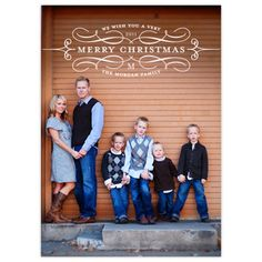 Cute family pose and Christmas card.