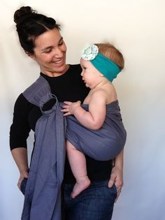 Ring Sling Baby Carrier, gray cotton, baby wearing, grey