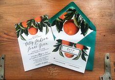 Oranges Botanical Wedding Invitation, Rustic Vintage Oranges, Shabby Chic, Citrus Invitation, Florida, California Grove Invite
