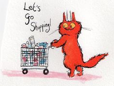 This cat loves to shop!