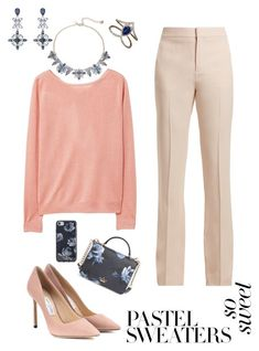 """Untitled #118"" by bluesfanaticxs on Polyvore featuring MANGO, Chloé, Jimmy Choo, Djula, Kate Spade and pastelsweaters"