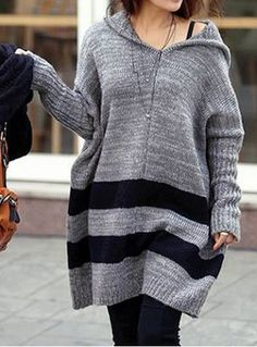 Fashionable Loose-Fitting Color Block Hooded Sweater For WomenSweaters & Cardigans | RoseGal.com
