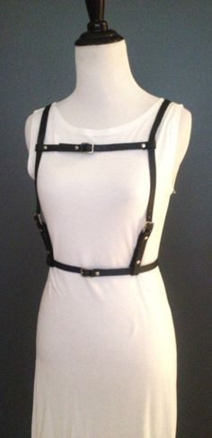 Distressed Brown and White Leather Harness Belt by NorthandHudson