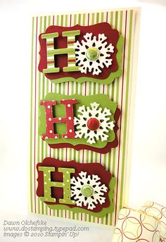 Ho Ho Ho Card with snowflakes