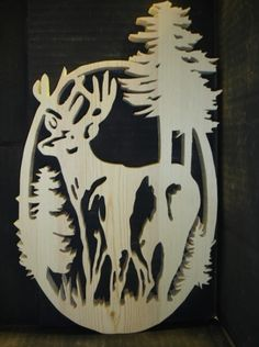 deer puzzles for scroll saw   DEER WITH TREES