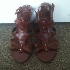Franco Sarto heeled gladiator sandal Gently worn, can be worn in the office and out on the town! Franco Sarto Shoes