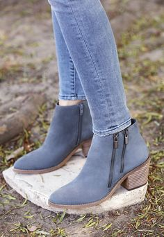 Blue leather ankle booties | Sole Society Bonny