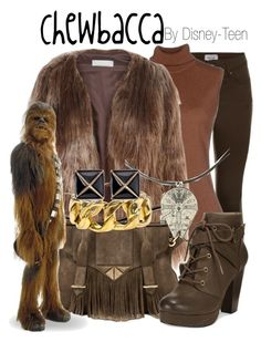 """""""Chewbacca"""" by disney-teen ❤ liked on Polyvore featuring Kangra Cashmere, Related, Ella Rabener, Material Girl, Chanel, Kenneth Jay Lane and starwars"""
