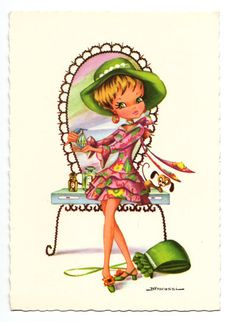 Vintage post card 70s by Fracassi. Beautiful girl is getting ready to go out.