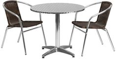 Flash Furniture TLH-ALUM-32RD-020CHR2-GG 31.5'' Round Aluminum Indoor-Outdoor Table with 2 Rattan Chairs