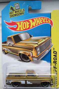 2014 HOT WHEELS SUPER TREASURE HUNT CHEVY SILVERADO, CARD HAS A BENT CORNER