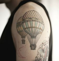 I realllllllly want a smaller hot air balloon tattoo similar to this on my foot WITH RELIENT K LYRICS next to it saying I'm on the up and up