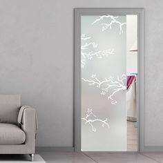 eclisse 10mm rosapesco sandblasted design on clear or satin glass pocket door