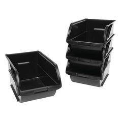 Stanley 6 in. x 12-5/8 in. Black Storage Bins (4-Pack)-057304R - The Home Depot