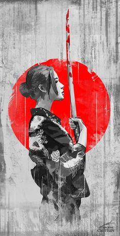 Samouraï femme en illustration noir et blanc et sanglante