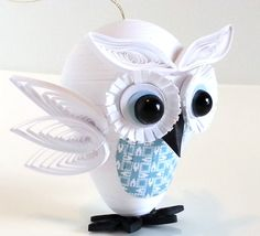 Owl Christmas Ornament Paper Quilled in White by WintergreenDesign
