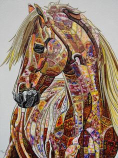 Abstract Horse 3 by Paula Horsley. Painting on deep edge canvas x Mosaic Animals, Abstract Animals, Arte Equina, Horse Quilt, Art Pierre, Painted Pony, Animal Quilts, Horse Drawings, Equine Art