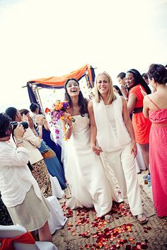 Same-Sex Marriage Ceremony - Los Angeles Gay & Lesbian Wedding. Makeup and Hair: Angela Tam Lesbian Beach Wedding, Beach Wedding Attire, Lesbian Wedding, Blue Suit Wedding, White Wedding Dresses, Wedding Suits, Two Brides, Wedding Inspiration, Style Inspiration