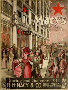 Absolutely marvelous cover art for the Summer Macy's Catalog of 1911. Unknown artsit has captured the wonderment of a typical saunter towards the flagship shop on 34th street - even the horses look thrilled to be trotting by Macy's!