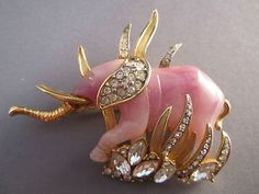 Vintage Hattie Carnegie Large Elephant Pin with Rhinestones