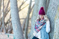 Blanket scarf, pom pom beanie, and layers! Pregnant winter outfit from www.theredclosetdiary.com || Instagram: jalynnschroeder