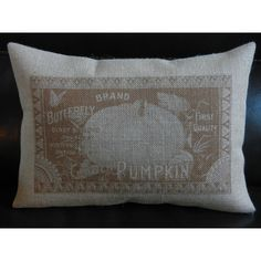 Pumpkin Label Burlap Pillow House Warming Shabby Chic Autumn... ($23) ❤ liked on Polyvore featuring home, home decor, throw pillows, dark olive, decorative pillows, home & living, home décor, burlap throw pillows, autumn throw pillows and shabby chic throw pillows