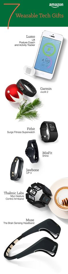 Wearable tech gadgets keeps us on the move make life a little more convenient. Everyone is asking Santa for gifts on the go. Smart watches, activity trackers, & heart rate monitors make great gifts this Christmas and get you ready for the new year. http://www.amazon.com/b/?_encoding=UTF8&node=7258704011&tag=tsa030-20&ascsubtag=ptw-PIN-1-9-1447387687261iI&ref_=ptw_PIN_1_9_1447387687261iI