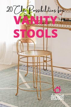 A looped back provides a whimsical dose of elegance Dressing Table Vanity, Dressing Tables, Outdoor Stools, Earthy Style, Modern Vanity, Vanity Stool, Wooden Stools, Bold Stripes, Counter Stools