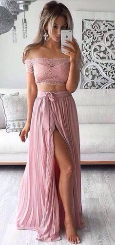Two Pieces Prom Dresses,Pink Prom Dress,Chiffon Prom Gowns,Lace Prom Dress,Front Split Prom Dress,Long Prom Dress,Prom Dresses For Teens,Elegant Prom Dress,Simple Cheap Prom Dress,Pretty Party Dresses,Modest Evening Gowns DR0089