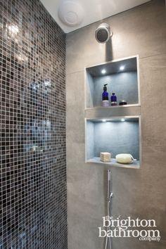 Double basin bespoke vanity with mosaiced wetroom —Hove Latest Bathroom Tiles, Small Bathroom Mirrors, Bathroom Tile Designs, Bathroom Design Luxury, Bathroom Wall Decor, Modern Bathroom Design, Master Bathroom, Family Bathroom, Bathroom Furniture