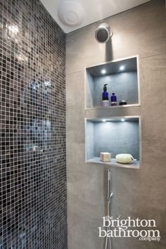 Double basin bespoke vanity with mosaiced wetroom —Hove | The Brighton Bathroom Company