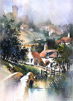 Somewhere in Exmoor by Thomas W. Schaller Watercolor ~ 30 x 22 inches