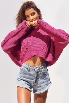 Slouchy High/Low Cable Knit Sweater by BDG on ShopStyle.