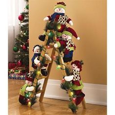 15 the creative christmas ladder for this year is amazing 10 From candles to greenery and everything between, it's important to be certain you include any staircases in your house in your decorating plans. Elf Christmas Decorations, Easy Christmas Crafts, Gold Christmas, Christmas Projects, Simple Christmas, Christmas Lights, Christmas Holidays, Rustic Christmas, Christmas Wreaths