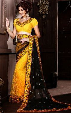 Picture of Alluring Deep Black. Gray and Yellow Color Stylish Saree Online