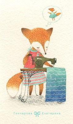 Seamstress by Ekaterina Goncharova Art And Illustration, Fuchs Illustration, Watercolor Illustration, Watercolor Art, Disney Animators, Fox Drawing, Fox Art, Cute Fox, Illustrators