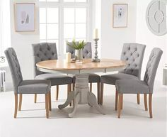 Epsom Oak and Grey Pedestal Extending Dining Table with Claudia Grey Fabric Dining Chairs Dining Room Table Set, Dining Chairs, Oak Dining Room, Pedestal Dining Room Table, Oak Dining Furniture, Comfortable Dining Chairs, Dining Table Chairs, Painted Dining Table, Grey Dining Tables