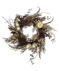 Look what I found on #zulily! Metallic Gourd & Berry Leaf Wreath #zulilyfinds
