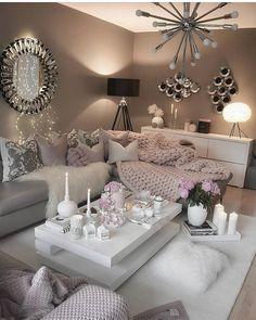 Cozy Living Room by Glam Living Room, Living Room Decor Cozy, Elegant Living Room, Interior Design Living Room, Living Room Designs, Decor Room, Romantic Living Room, Color Interior, Inspire Me Home Decor