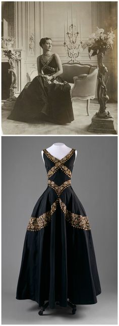 Above: Wallis, Duchess of Windsor, by Cecil Beaton, bromide print, 1939. © Cecil Beaton Studio Archive, Sotheby's London, via the National Portrait Gallery. Below: Evening dress, by Mainbocher, c. 1938. Black silk taffeta embroidered with metallic thread, sequins, and beads. The Metropolitan Museum of Art.