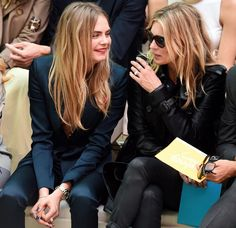 Cara Delevingne with Kate Moss – Burberry Prorsum Show SS 2015 London Fashion Week