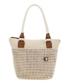 Super Cute Natural Bronze Cambria Crocheted Tote - this would go with anything!