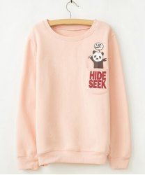 $8.55 Panda And Letters Pattern Pocket Korea Style Cotton Color Matching Sweatshirt For Women