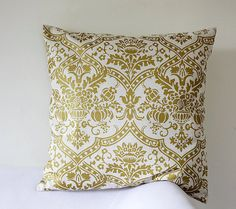 Pillow cover yellow damask print on decorative by pillowlink, $28.00