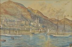 Rensburg (Eugene, 1872-1956). Monte Carlo, Gouda, Monte Carlo, View Image, July 4th, Worlds Largest, Past, Auction, Watercolor, Painting