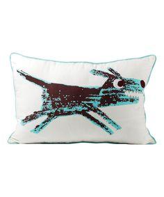 Look what I found on #zulily! White & Aqua Dog Throw Pillow #zulilyfinds