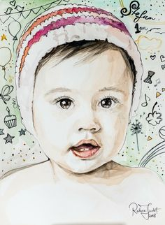 Items similar to Custom Watercolor Baby Portrait with Doodle Ink Graphics on Etsy Baby Portraits, Watercolor And Ink, Etsy Shop, Unique Jewelry, Handmade Gifts, Vintage, Art, Kid Craft Gifts, Art Background