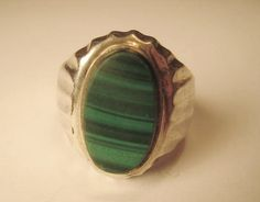 Vintage Malachite  Mexico .925 Silver  Ring Size 13 by StarPower99, $38.00