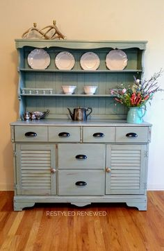 Hutch painted in Annie Sloan chalk paint duck egg. Sealed with clear wax and a clear/dark wax mix.