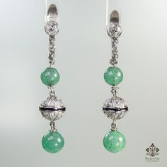 Antique Art Deco Platinum Diamond & Jade Earrings – Rozental Antiques